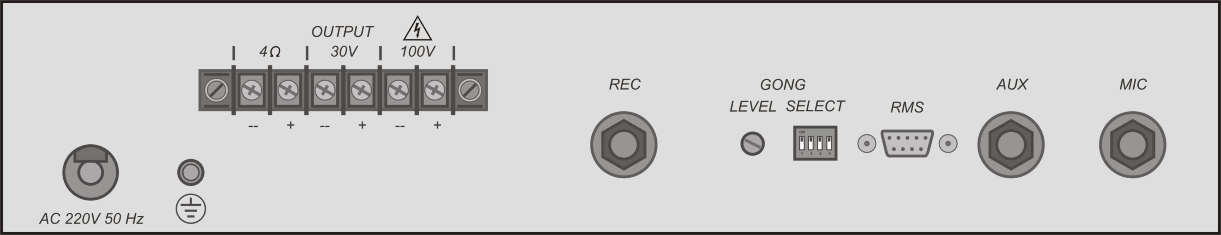 Усилитель-микшер 80ПП022М задняя панель